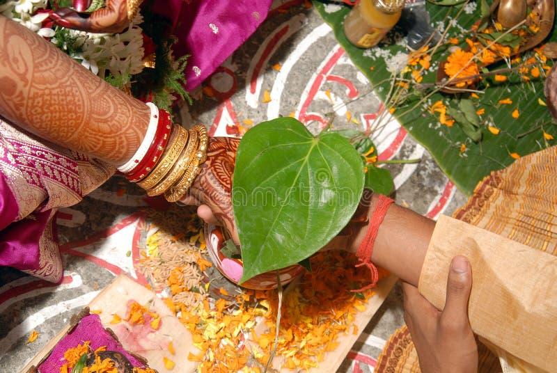 Bengaalse huwelijksRituelen in India royalty-vrije stock afbeeldingen