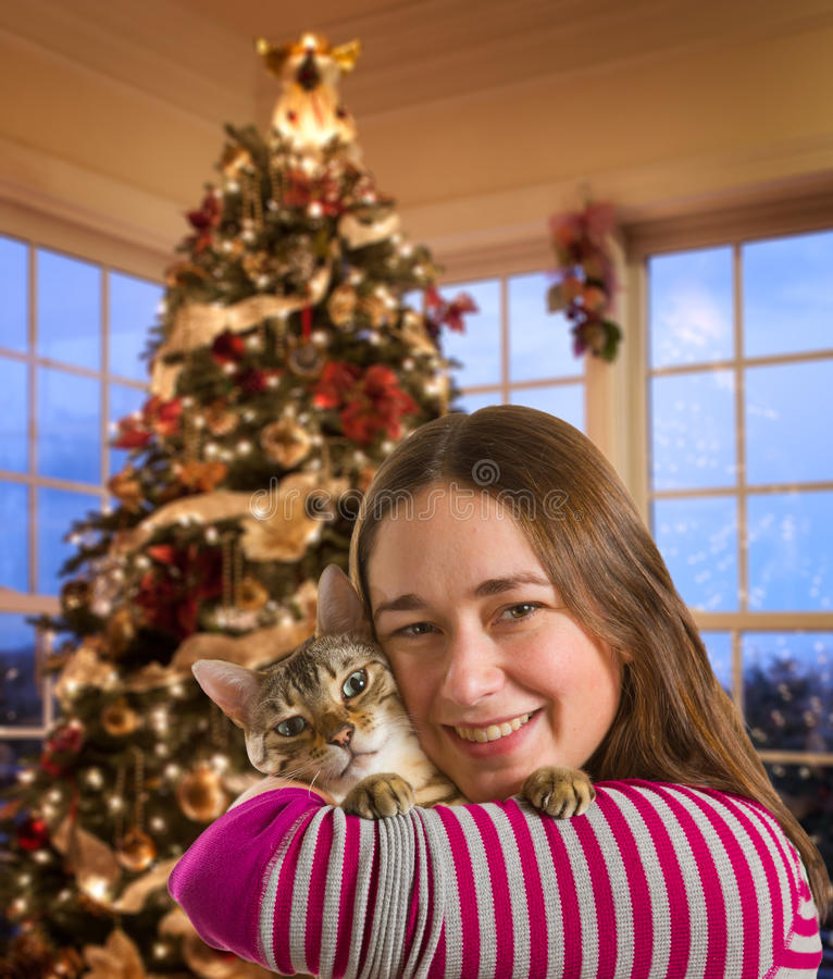 Bengal Cat On Girls Arm Royalty Free Stock Photo