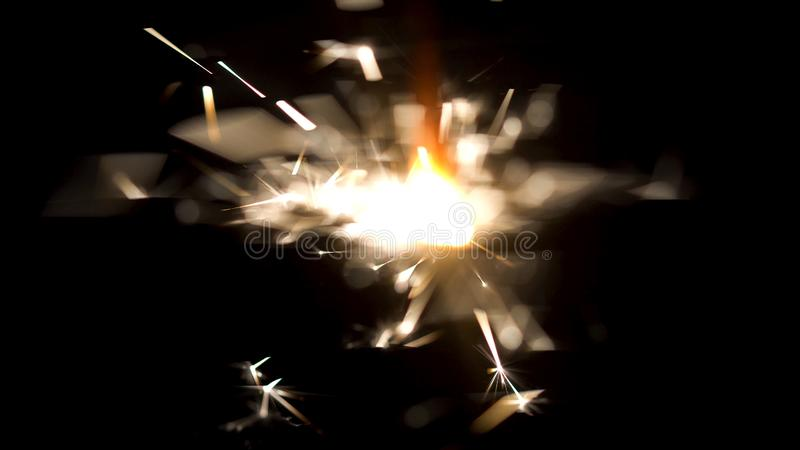 Bengal fire with beautiful sparkles isolated on black background. Media. Burning sparkler in the dark, Merry Christmas stock images
