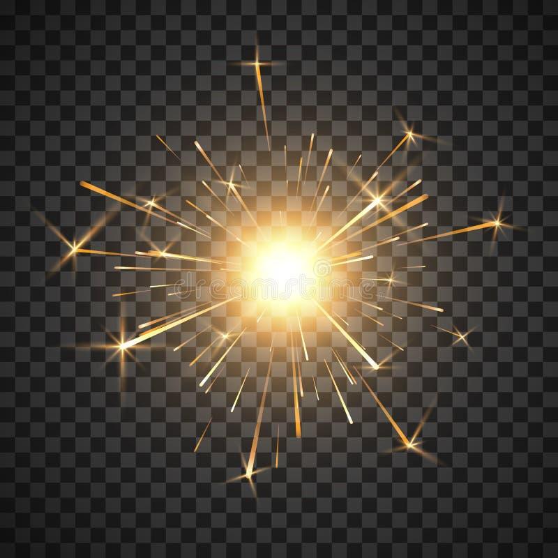 Bengal fire. Burning shiny sparkler firework. Realistic light effect. Party decor element. Magic light. Vector illustration. Isolated on transparent background stock illustration