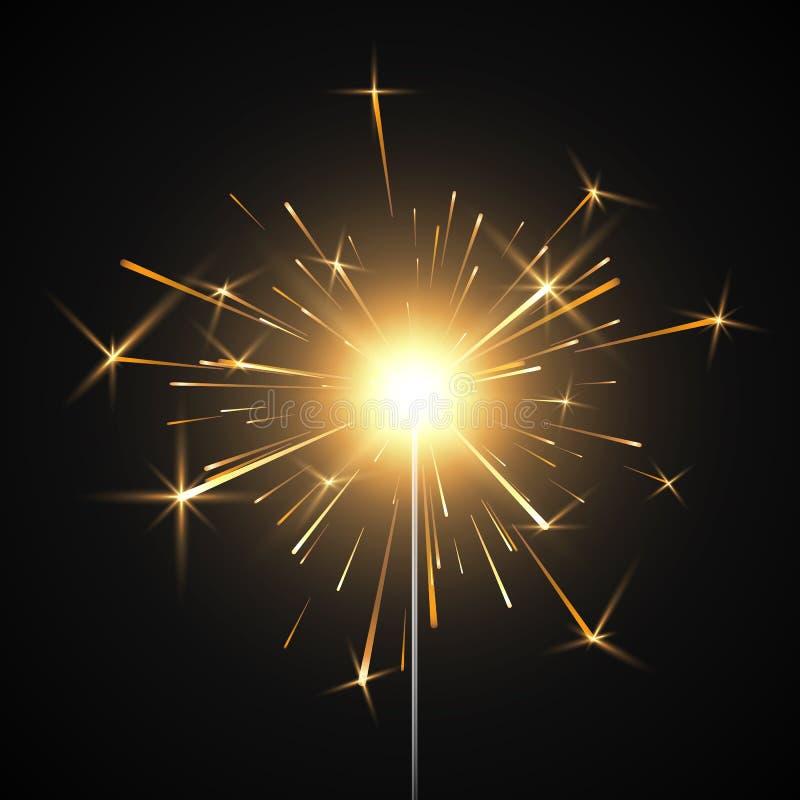 Bengal fire. Burning shiny sparkler firework. Realistic light effect. Party decor element. Vector illustration isolated. On transparent background vector illustration