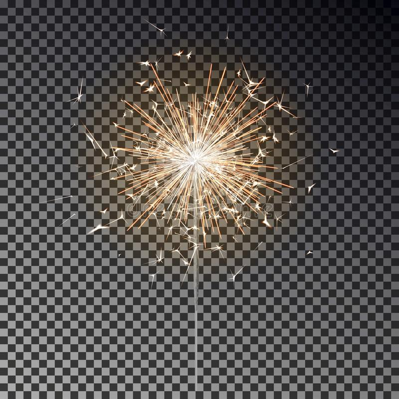 Free Bengal Fire. New Year Sparkler Candle Isolated On Black Background. Realistic Vector Light Effect. Party Backdrop. Sparkler Vector Royalty Free Stock Image - 160906726