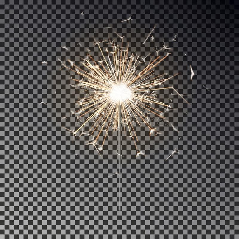 Free Bengal Fire. New Year Sparkler Candle Isolated On Transparent Background. Realistic Vector Light Eff Royalty Free Stock Images - 126709479