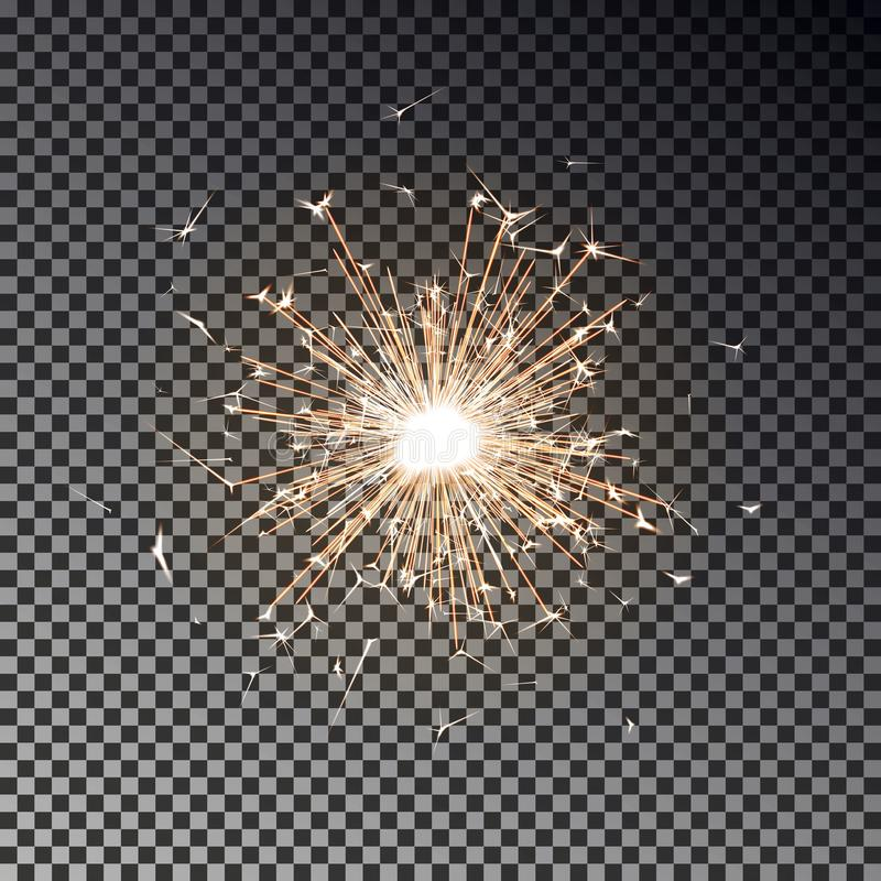 Free Bengal Fire. New Year Sparkler Candle Isolated On Transparent Background. Realistic Vector Light Eff Stock Photography - 126709482