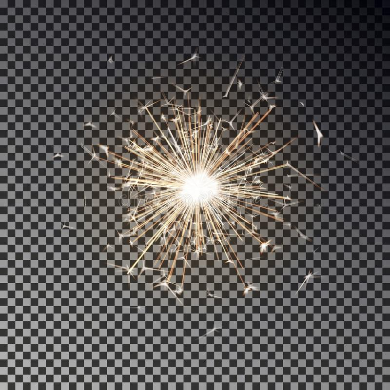 Free Bengal Fire. New Year Sparkler Candle Isolated On Transparent Background. Realistic Vector Light Eff Stock Photo - 127749350