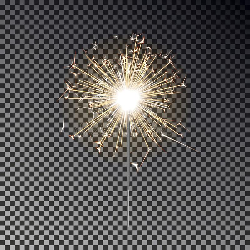 Bengal fire. New year sparkler candle isolated on transparent background. Realistic vector light eff vector illustration