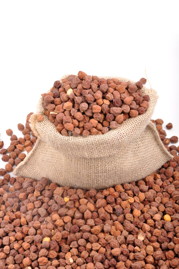 Bengal gram. On white - top view stock photography