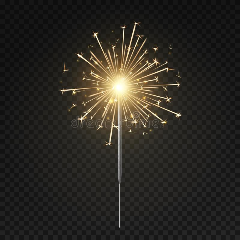 Bengal light. Burning sparkler, christmas, new year and happy birthday sparkling candle, firework isolated vector royalty free illustration
