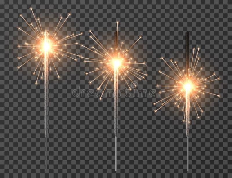 Bengal light. Christmas sparkler lights, diwali firework candle. Realistic bengal party lights vector set vector illustration