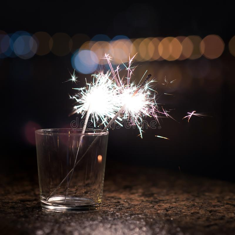 Bengal lights, sparkler in glass. Christmas time stock image