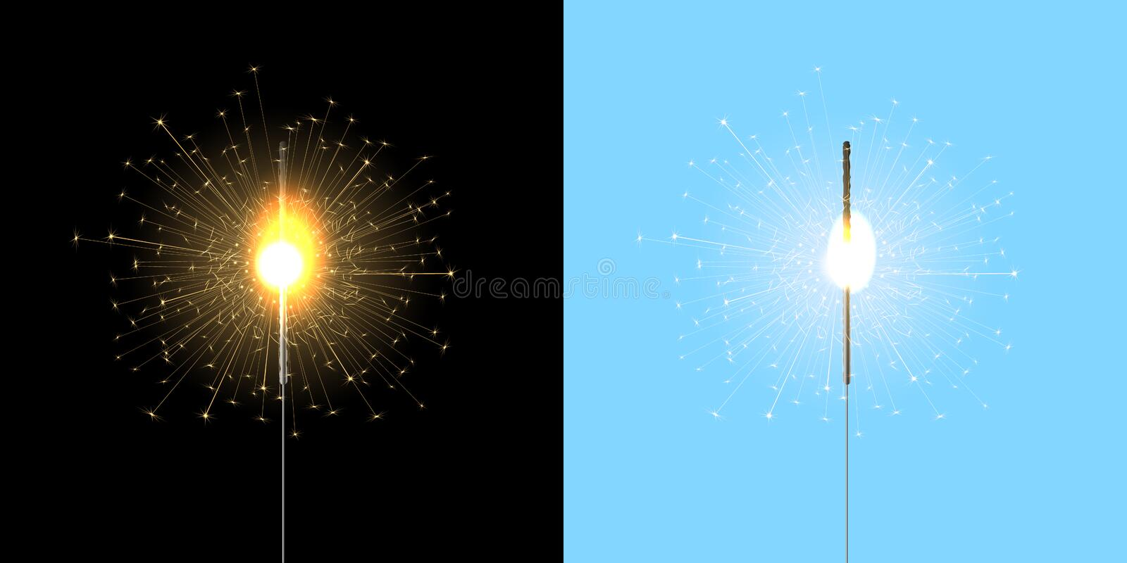 Bengal lights, sparklers. On black and blue background. royalty free stock image