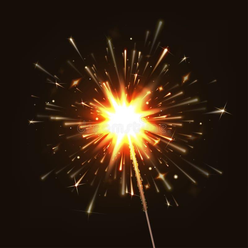 Bengala del ejemplo del vector Año Nuevo pirotecnia EPS10 ilustración del vector