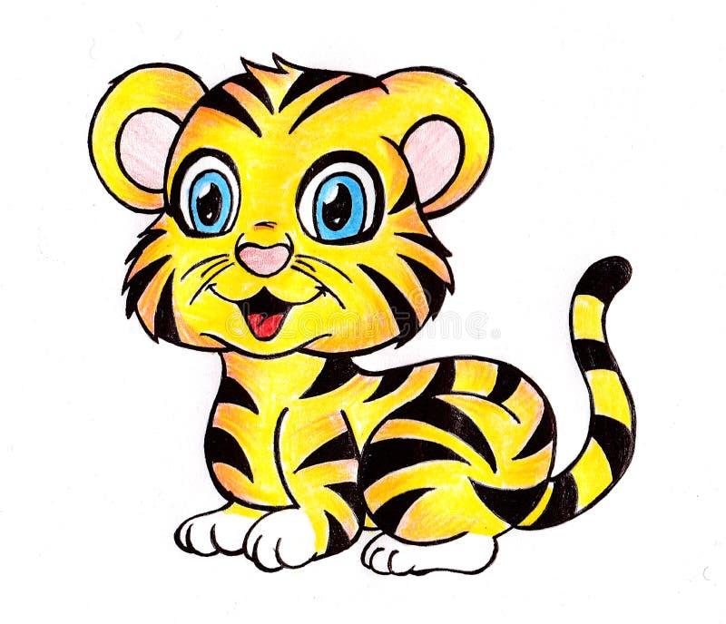 Bengala real dibujada mano Tiger Cub ilustración del vector