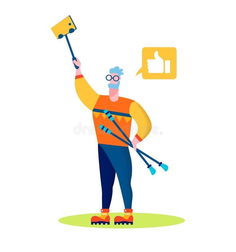 Bengalas nórdicas envelhecidas da posse do homem que fazem Selfie ilustração do vetor