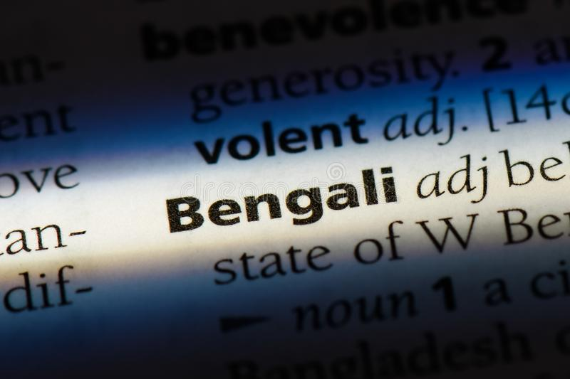 Bengali. Word in a dictionary.  concept royalty free stock image