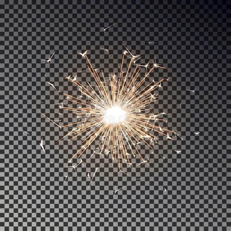 Bengalia ogień Nowego roku sparkler świeczka odizolowywająca na przejrzystym tle Realistyczny wektoru światła eff royalty ilustracja