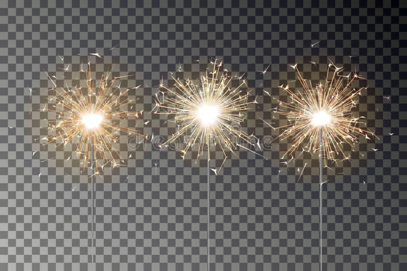 Bengalia ogienia błyskotania wektoru set Nowego roku sparkler świeczka odizolowywająca na przejrzystym tle realista royalty ilustracja