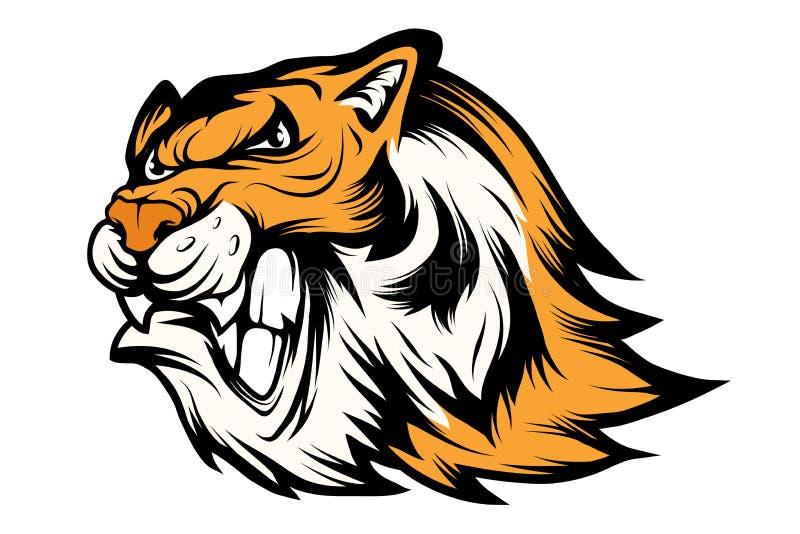 Bengalia tygrys bawi się maskotka logo Tygrysia maskotka Gniewna tygrysia twarz royalty ilustracja