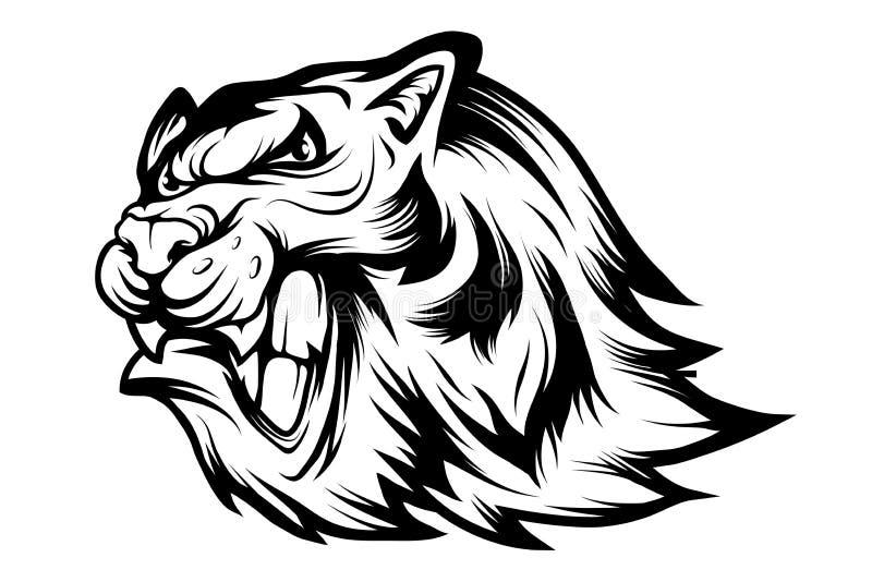 Bengalia tygrys bawi si? maskotka logo Tygrysia maskotka Gniewna tygrysia twarz royalty ilustracja