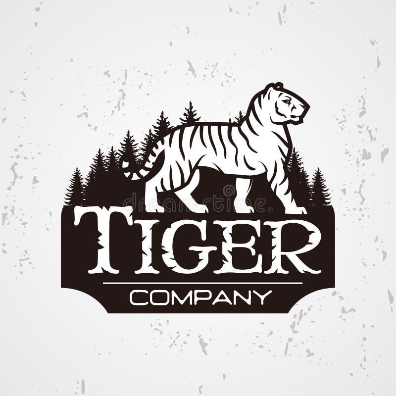 Bengalia tygrys w lasowym loga wektorze Maskotka projekta koszulowy szablon Sklepu lub produktu ilustracja Wyprawy insygnia ilustracja wektor