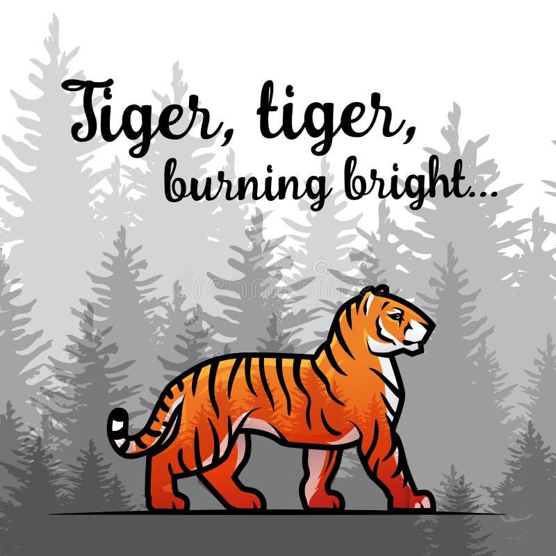Bengalia tygrys w lasowym plakatowym projekcie Dwoistego ujawnienia wektoru szablon Stary wiersz William Blake ilustracją na mgło ilustracja wektor