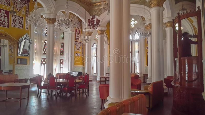 Artwork at Banglaore Palace, Bengaluru, India. BENGALURU, INDIA - FEBRUARY 20, 2017: Interior decoration of famous Bangalore Palace. It was private residence of stock images