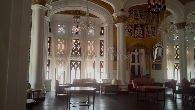 Artwork at Banglaore Palace, Bengaluru, India. BENGALURU, INDIA - FEBRUARY 20, 2017: Interior decoration of famous Bangalore Palace. It was private residence of stock photography