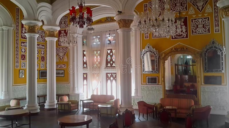 Artwork at Banglaore Palace, Bengaluru, India. BENGALURU, INDIA - FEBRUARY 20, 2017: Interior decoration of famous Bangalore Palace. It was private residence of stock photos
