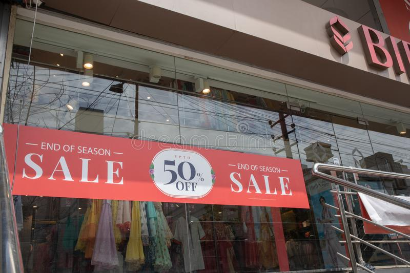 Bengaluru, India June 27,2019 : End of Season Sale bill board infont of the store building at Bengslore, India.  royalty free stock images
