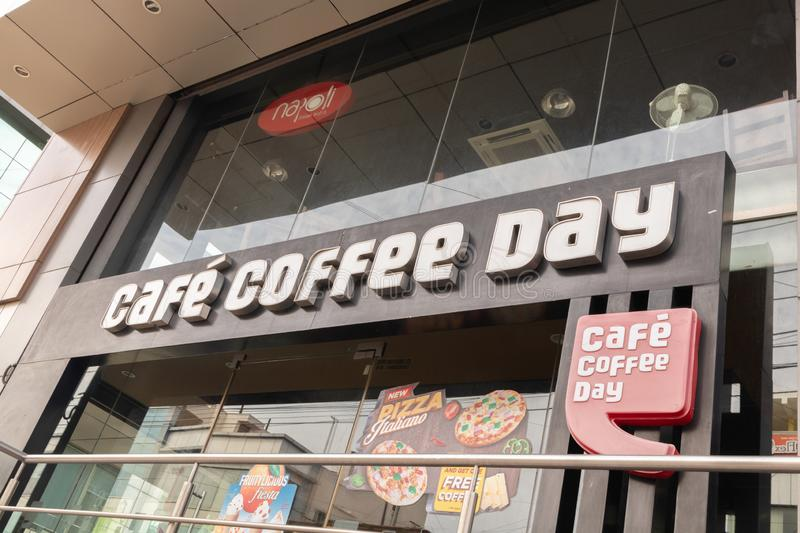 Bengaluru, India June 27,2019 : Front view Bill board of Cafe Coffee Day shop building at Bengaluru.  royalty free stock images