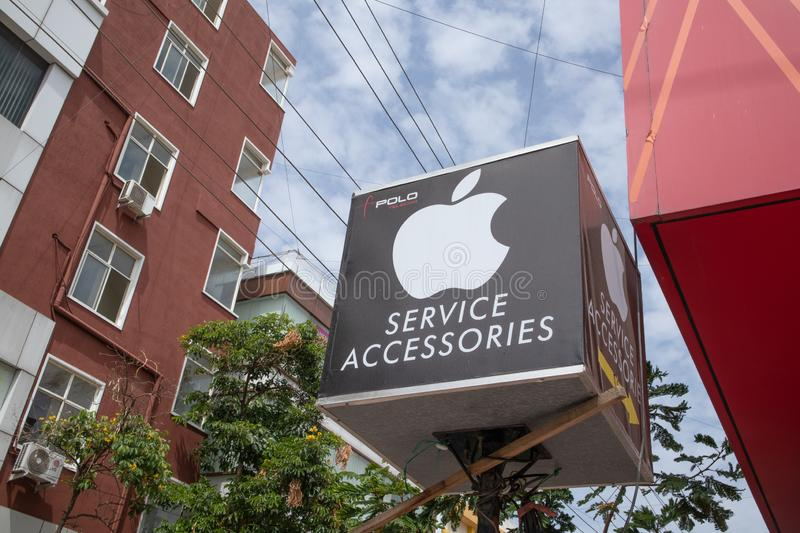 Bengaluru, India June 27,2019 : Front view Bill board or signage of Apple service of Mobiles at Bengaluru.  stock photo