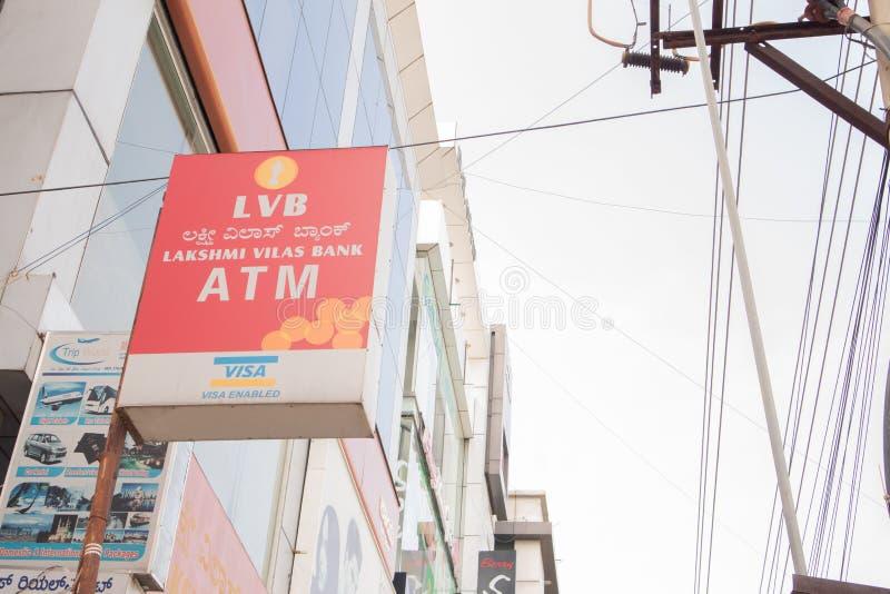 Bengaluru, India June 27,2019 : Front view Bill board or signage of Lakshmi Vilas Bank ATM at Bengaluru.  royalty free stock photography