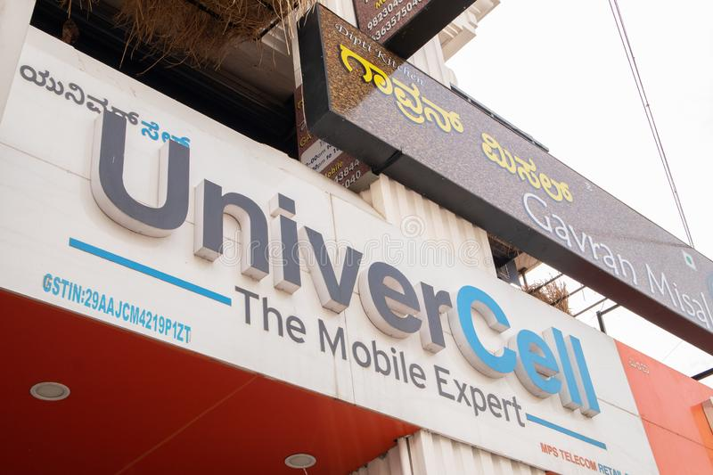 Bengaluru, India June 27,2019 : Front view Bill board of Univercell Mobiles at Bengaluru.  royalty free stock images
