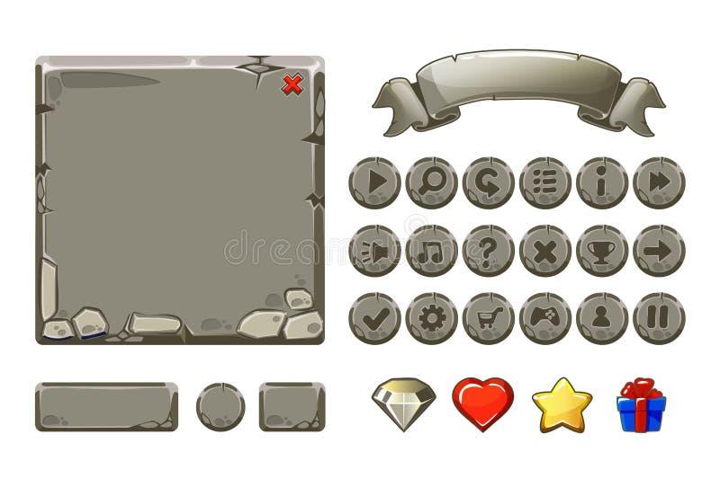 Beni del grande fumetto dell'insieme e bottoni di pietra grigi per il gioco di Ui, icone del GUI illustrazione di stock