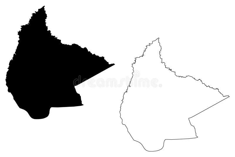 Beni Department Plurinational State von Bolivien, Abteilungen der Bolivien-Kartenvektorillustration, Karte Gekritzelskizze EL Ben lizenzfreie abbildung