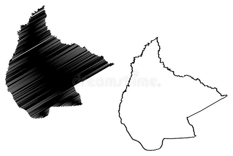 Beni Department Plurinational State von Bolivien, Abteilungen der Bolivien-Kartenvektorillustration, Karte Gekritzelskizze EL Ben stock abbildung