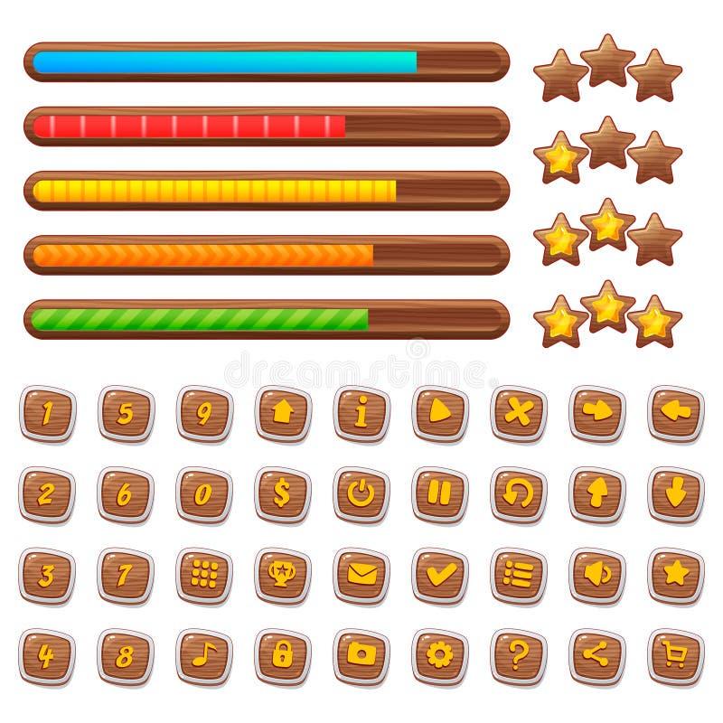 Beni di legno del gioco del fumetto, corredo semplice per sviluppo di ui del gioco, elementi del GUI di vettore royalty illustrazione gratis