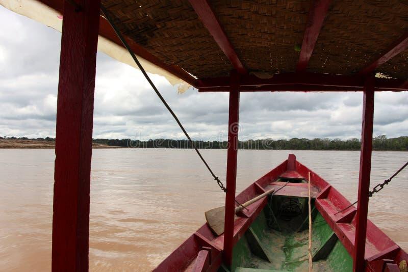 The Beni river. Heading into Madidi National Park in the Amazon rainforest near Rurrenabaque, Bolivia stock photo