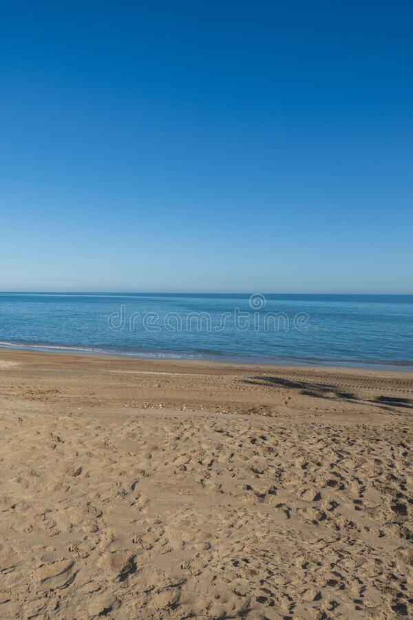 Benicassim beach a clear summer day, Castellon. Spain royalty free stock photos