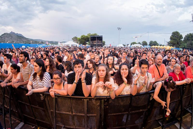 Crowd in a concert at FIB Festival stock photo