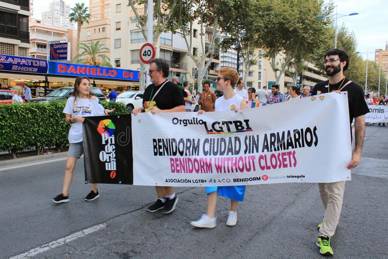 Political groups parading in the gay pride parade in Benidorm royalty free stock photos