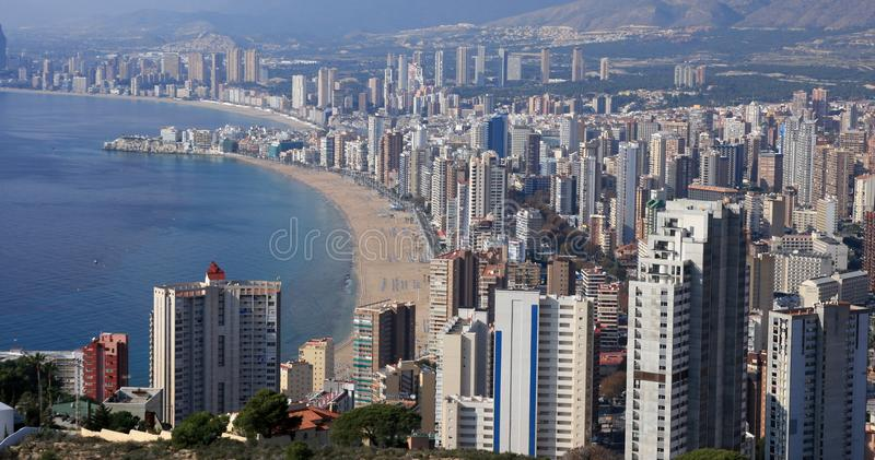 Benidorm bay. Benidorm´s buildings and hotels on the beach royalty free stock images