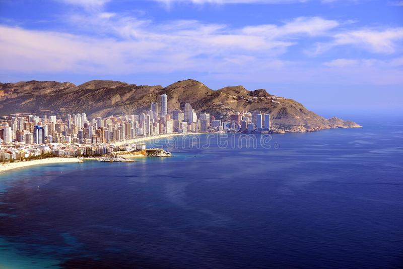 Benidorm Bay. Buildings in Benidorm city, Alicante royalty free stock photo