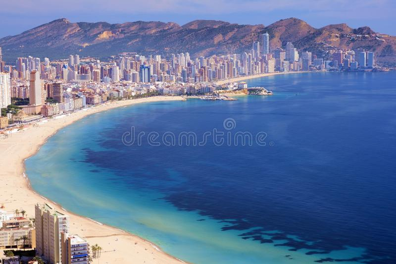 Benidorm Bay. Buildings in Benidorm city, Alicante stock image