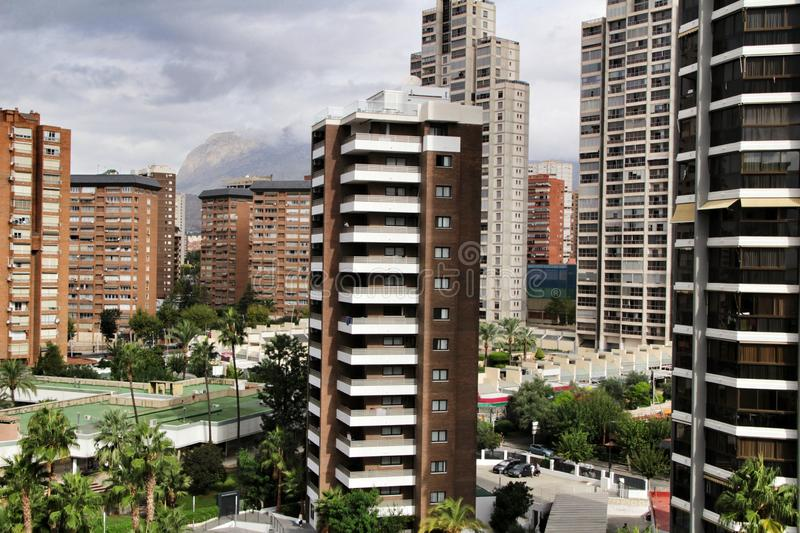 Benidorm city panoramic view one summer day at sunset stock images