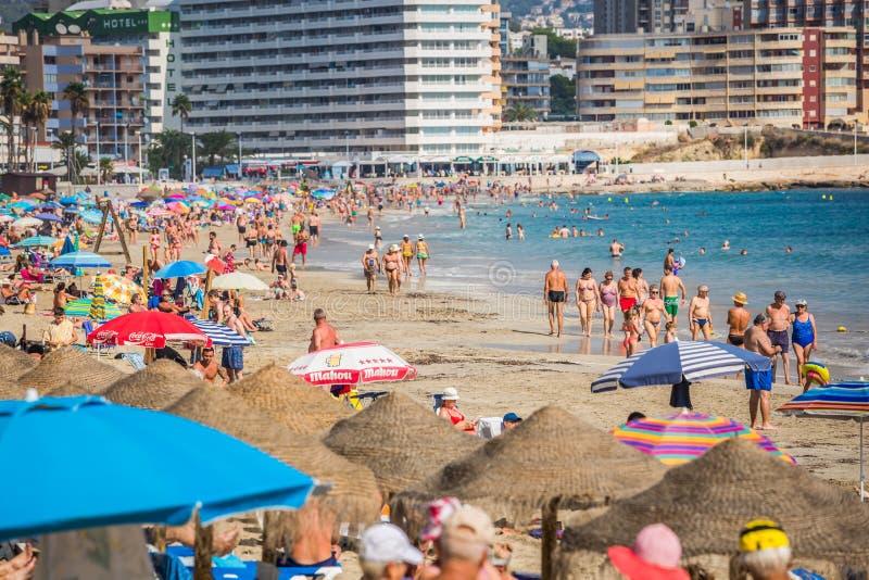 Benidorm, Hiszpania Wrzesień 11,2016: levante plaża w Alicante Spai fotografia stock