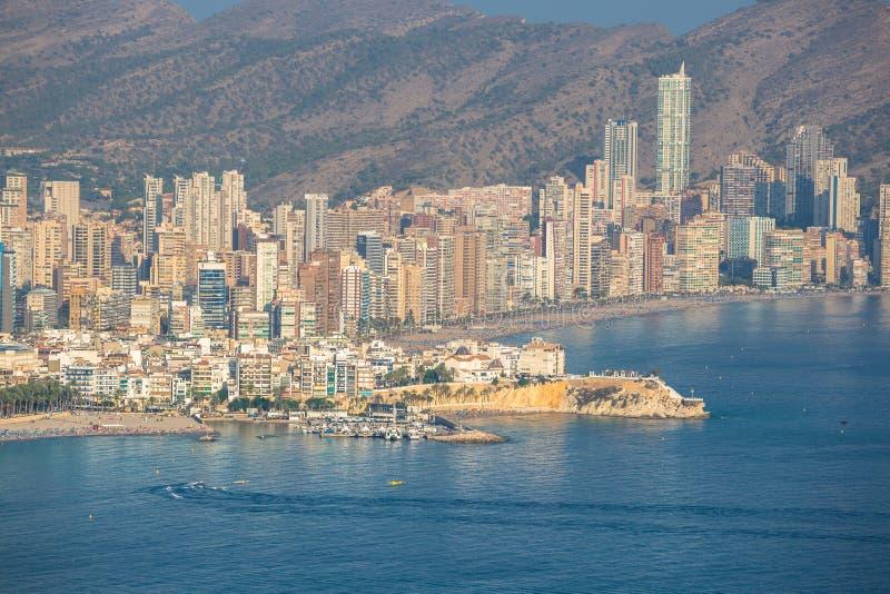 Benidorm, Hiszpania Wrzesień 11,2016: levante plaża w Alicante Spai obraz royalty free