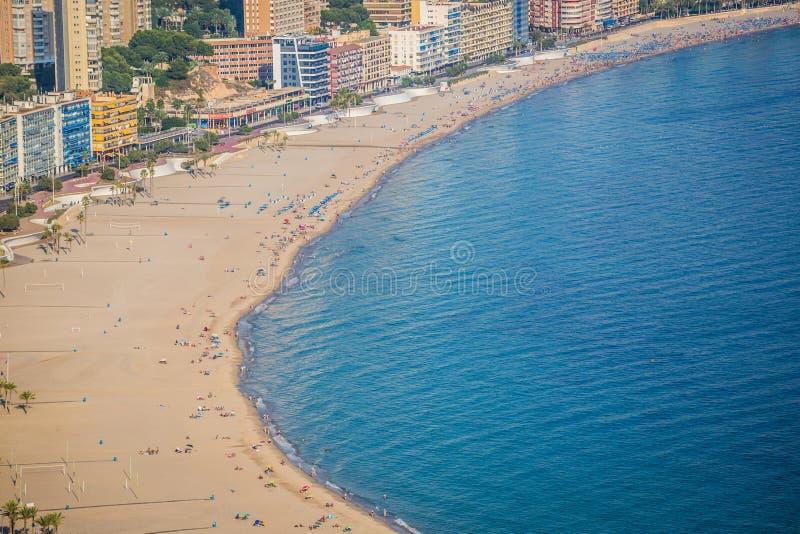 Benidorm, Hiszpania Wrzesień 11,2016: levante plaża w Alicante Spai zdjęcia royalty free