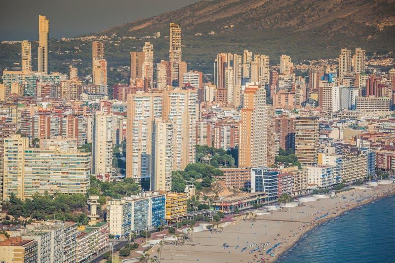 Benidorm, Hiszpania Wrzesień 11,2016: levante plaża w Alicante Spai zdjęcia stock