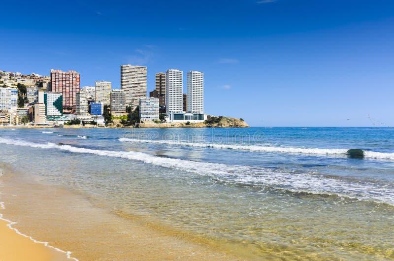 Benidorm kust op levantestrand, Spanje stock fotografie